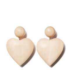 Large Single Heart Earring, Light Wood