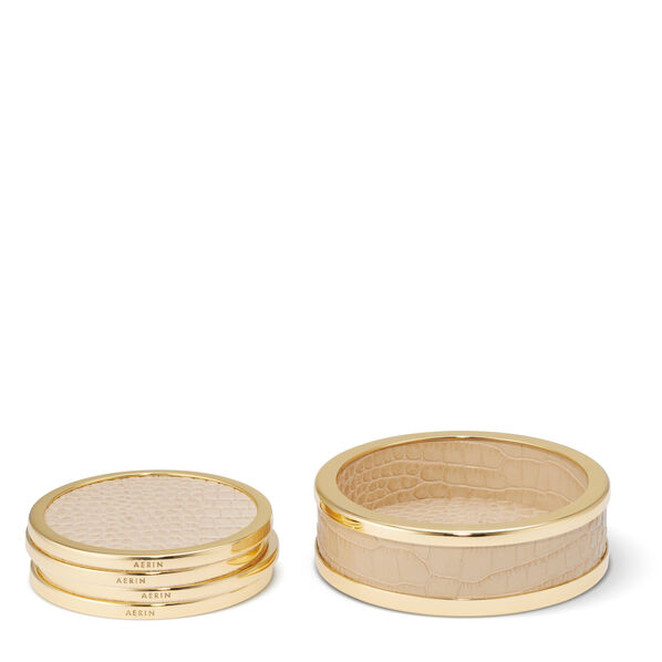 Colette Croc Leather Coaster