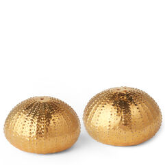 Sea Urchin Salt and Pepper Shakers, Gold
