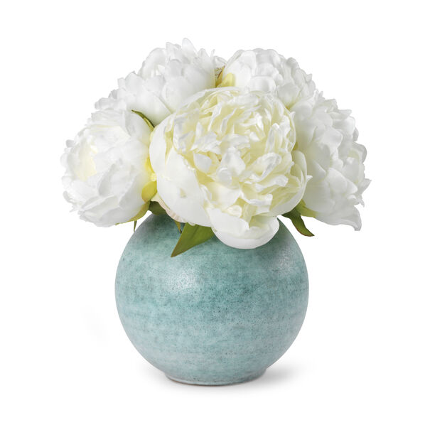 White Peony and Calinda Round Vase