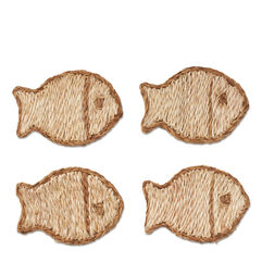 Abaca Fish Coasters, Set of 4