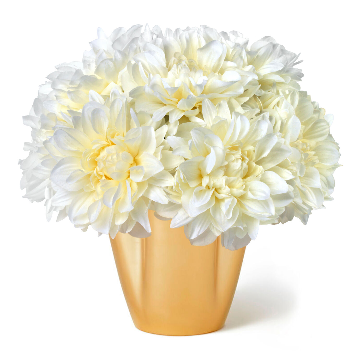 White Dahlias and Gilded Clover Small Vase