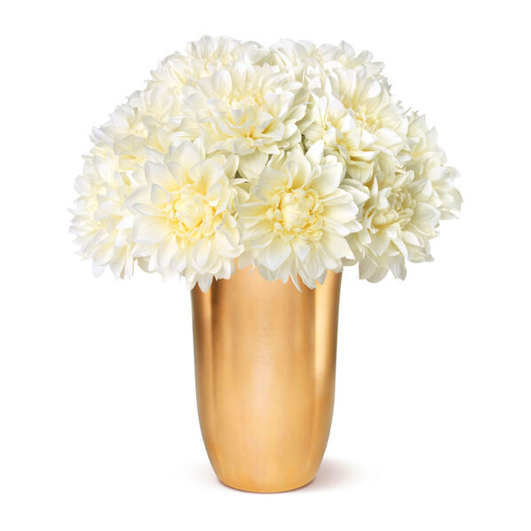 White Dahlias and Gilded Clover Tall Vase