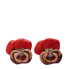 Marquetry Sculptural Red Pansy Earrings