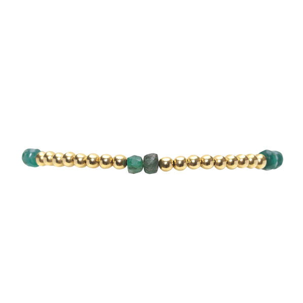 Yellow Gold Bead & Emerald Pattern Bead Bracelet