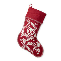 Red Holiday Embroidered Stocking