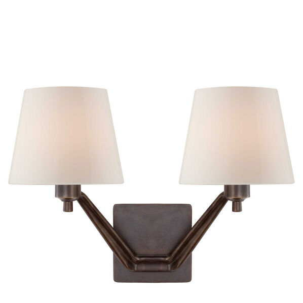Union Double Arm Sconce with White Glass