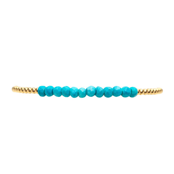 Yellow Gold & Turquoise Small Bead Bracelet