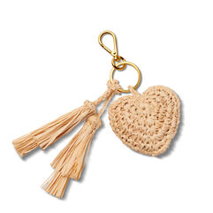 Heart Raffia Keychain with Tassel