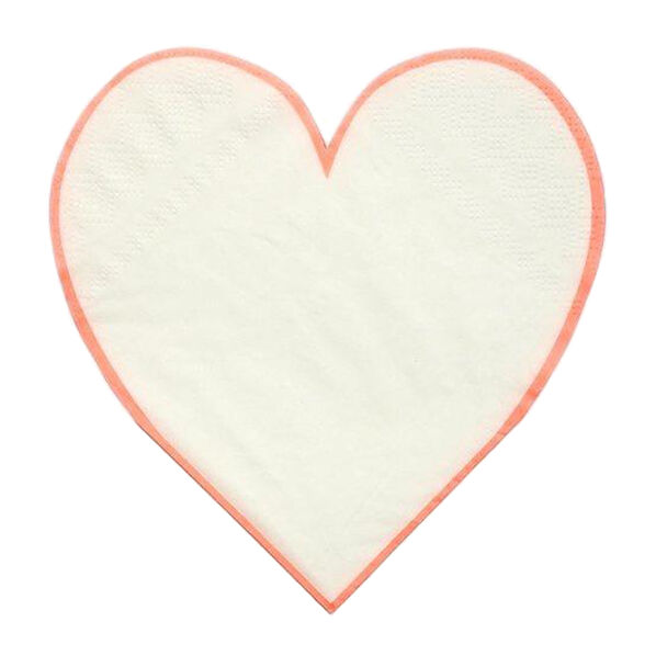 Coral Heart Outline Small Napkins