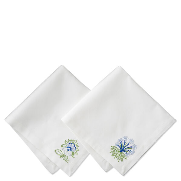 Embroidered White Floral Napkin, Set of 4