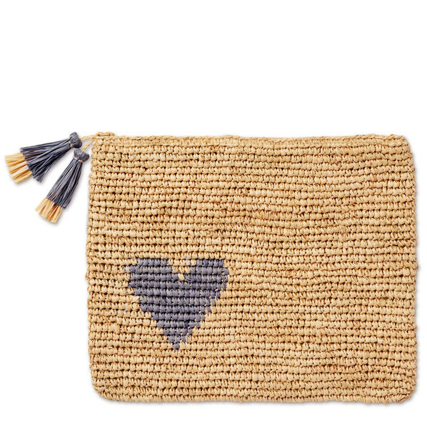 Large Heart Raffia Zip Pouch