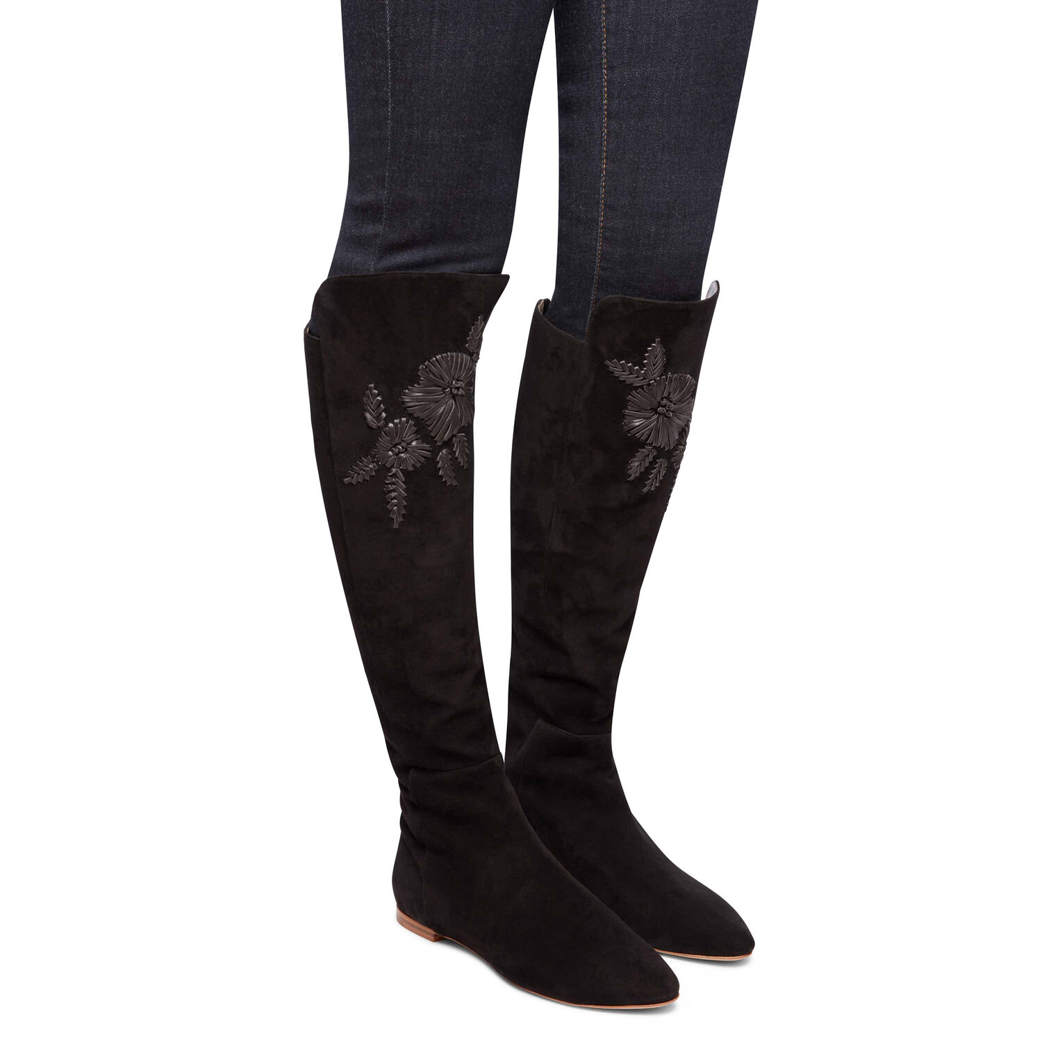 Embroidered Suede Boot