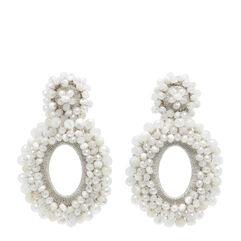 White Crystal And Mother Of Pearl Primrose Earrings