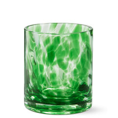 Green Confetti Dot, Set of 4 Double Old-Fashioned Glasses