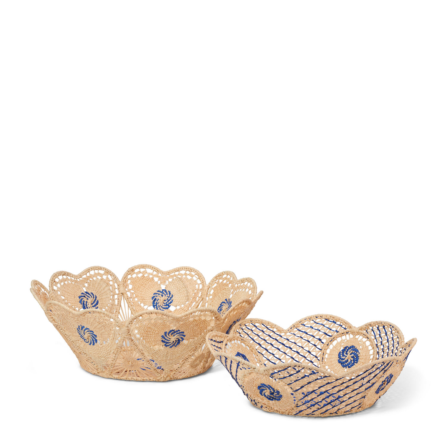 Raffia Scalloped Edge Baskets, Set of 2