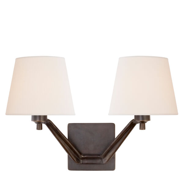 Union Double Arm Sconce with Linen Shade
