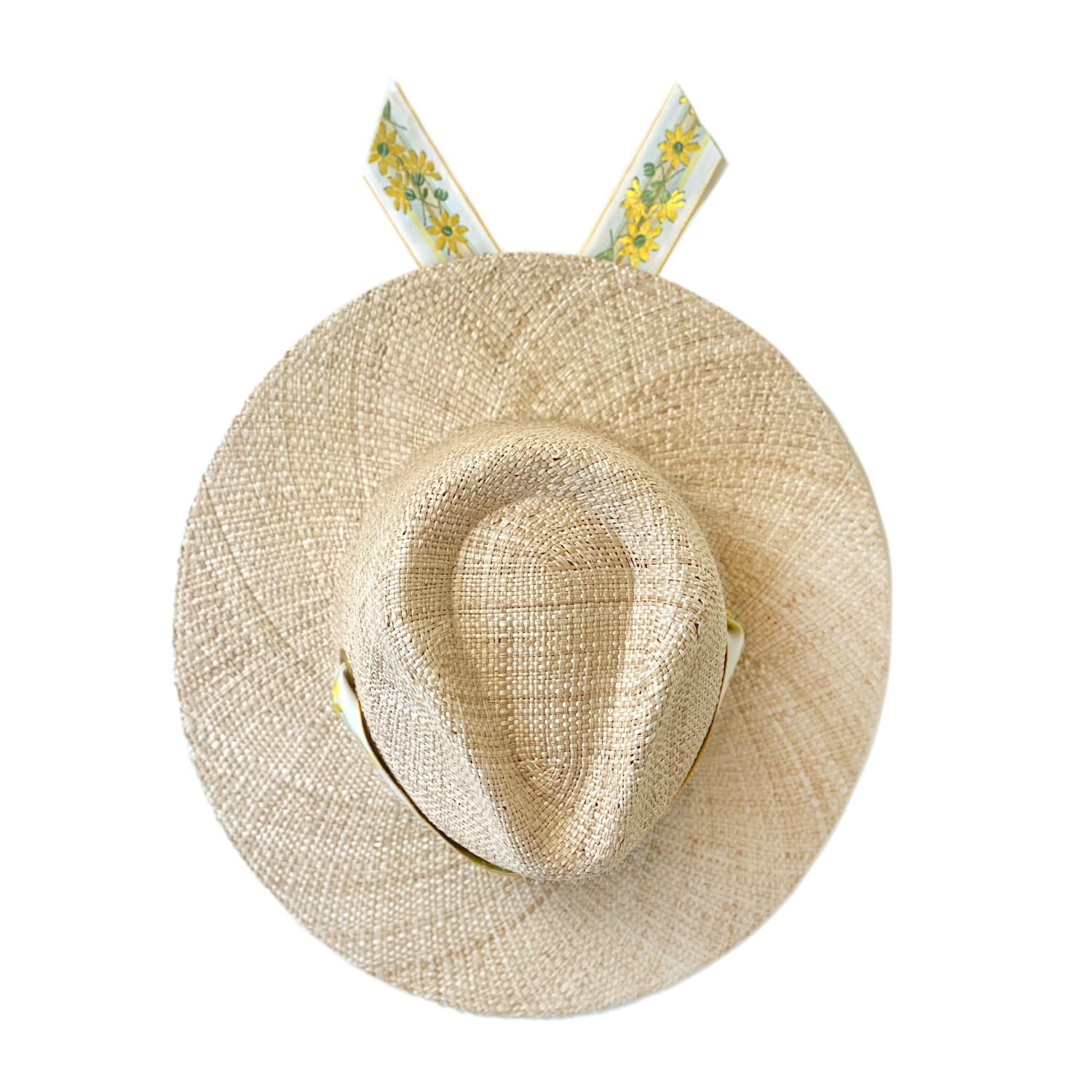 Hibiscus Hat With Yellow Floral Vintage Ribbon