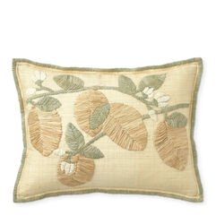 Raffia Embroidered Lumbar Pillow
