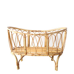 Vintage Rattan and Bamboo Bassinet and Crib