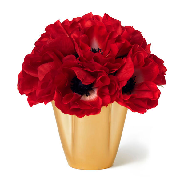 Red Anemones and Gilded Clover Small Vase
