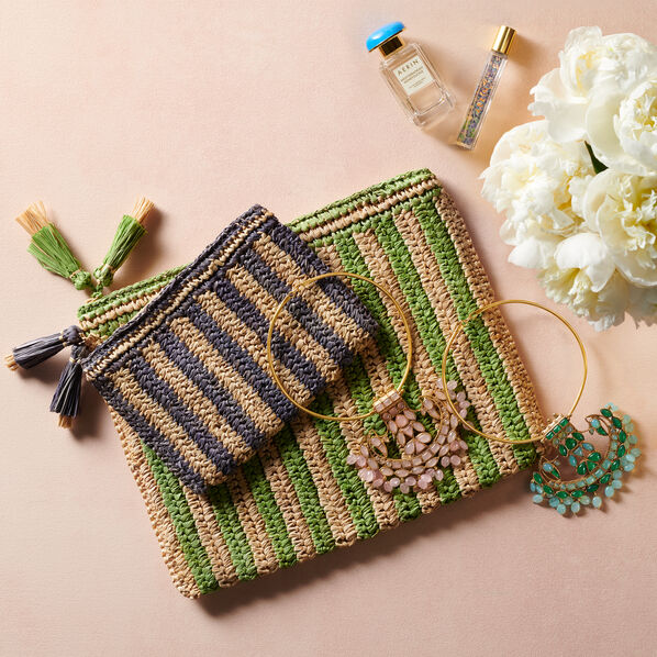 Small Striped Raffia Pouch