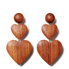 Double Heart Earring, Dark Wood