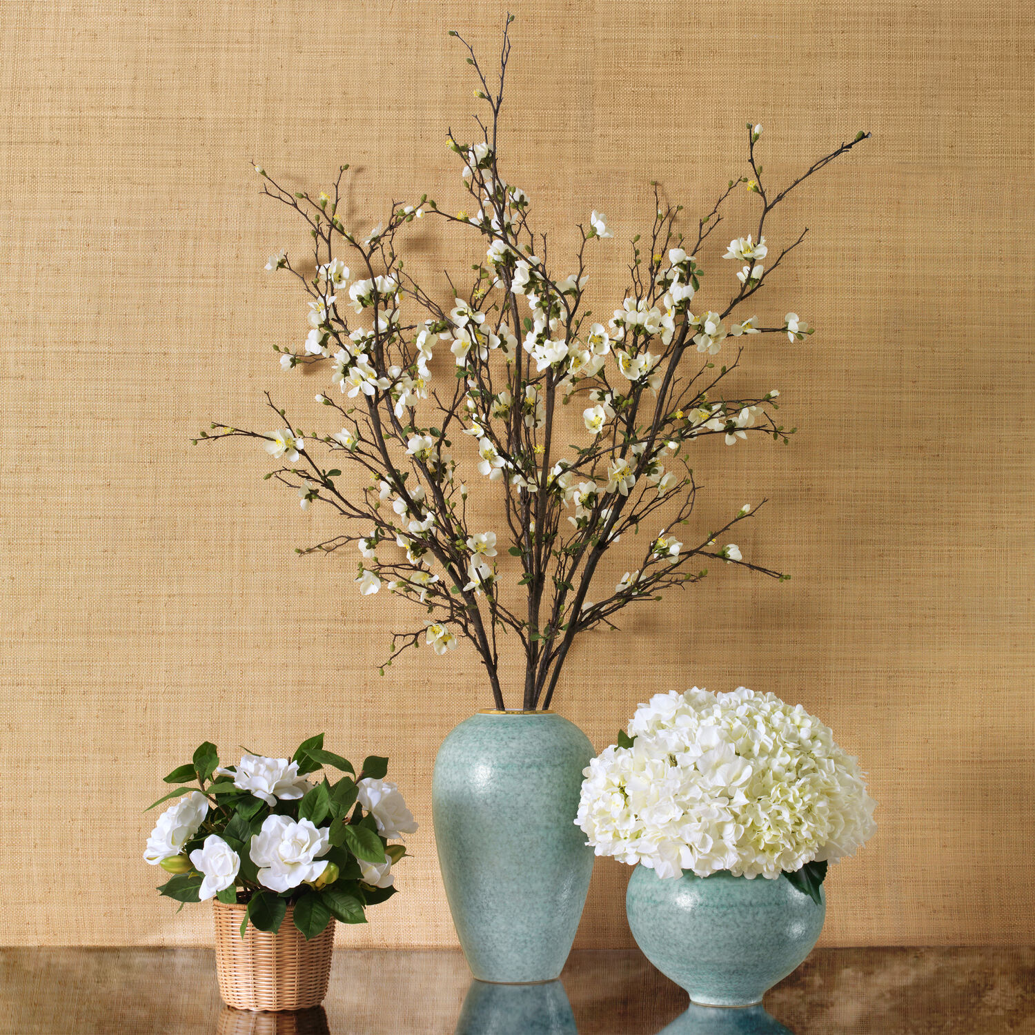 White Quince and Calinda Tapered Vase