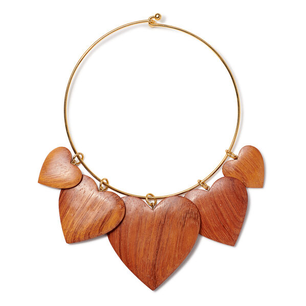 Heart Necklace, Dark Wood