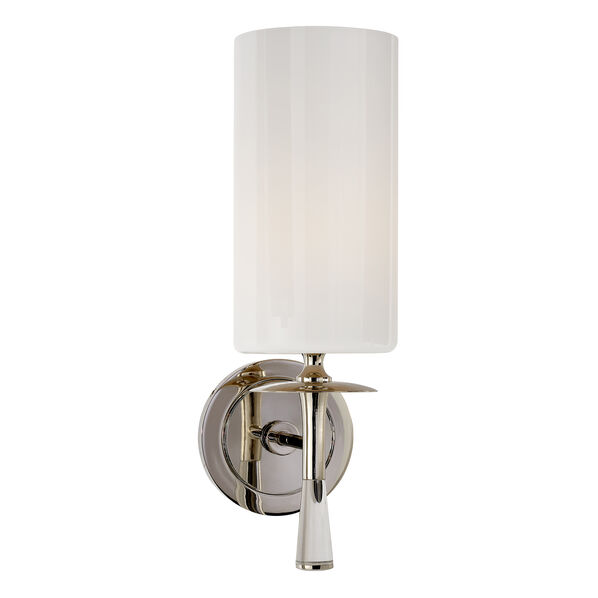 Drunmore Single Sconce with Crystal and White Glass Shade
