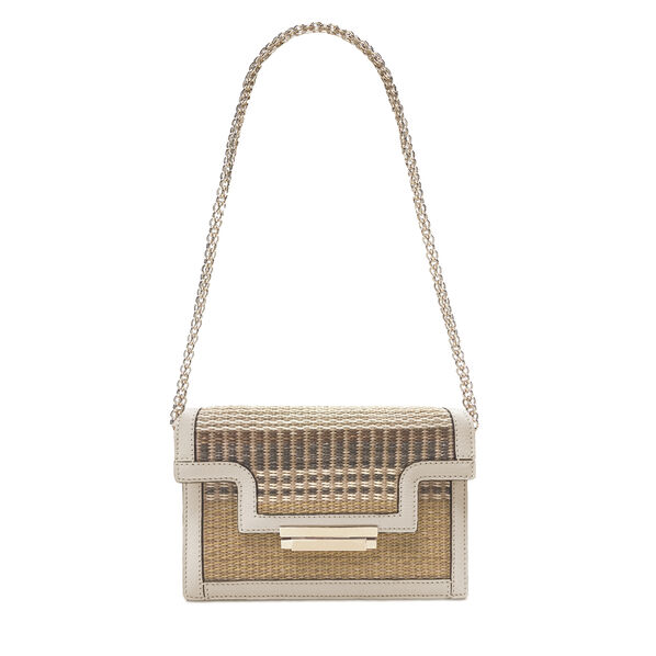 Leather and Straw Cocktail Bag