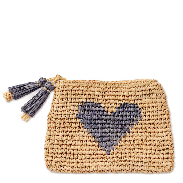 Small Heart Raffia Zip Pouch