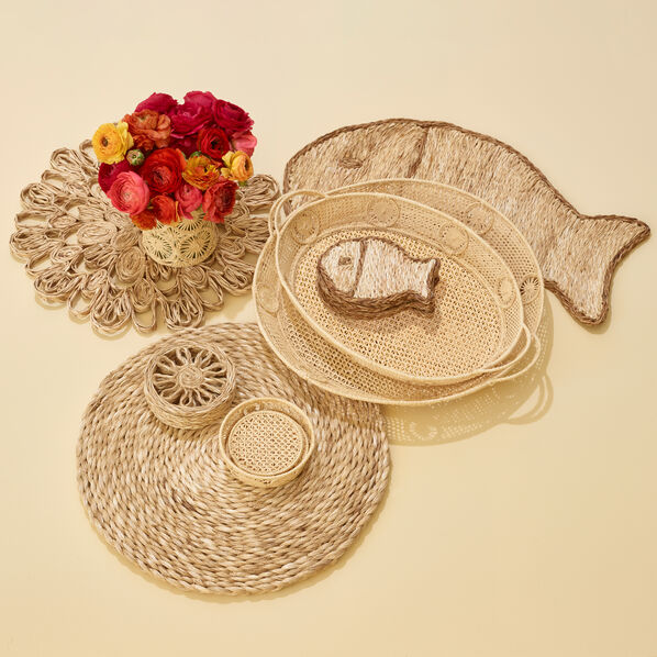 Abaca Fish Coaster, Set of 4