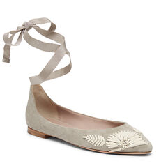 Embroidered Pointed Toe Ballet Flat