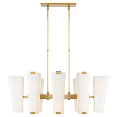 Alpine Medium Linear Chandelier with White Glass