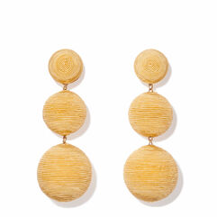 Classic Three Drop Earring, Natural Straw