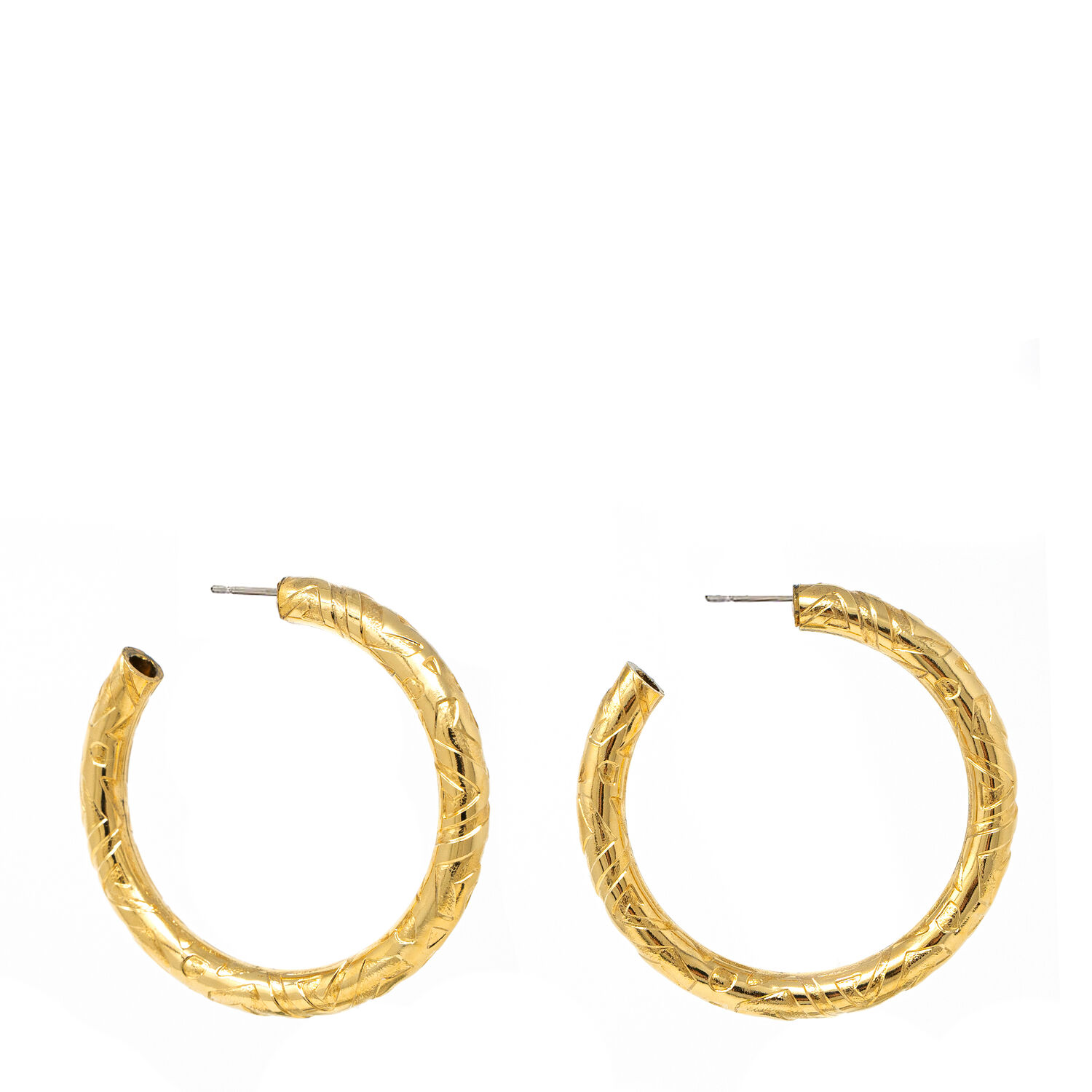 Etched Gold Hoop