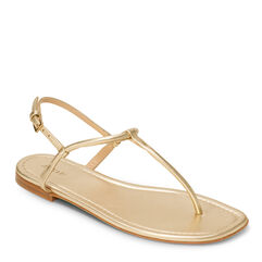 Leather T- Strap Sandal, Gold