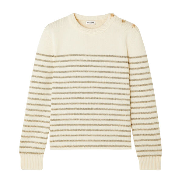 Button-detailed metallic striped knitted sweater