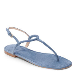 Suede T-Strap Sandal, Oceano