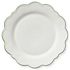 Scalloped Green Rimmed Dinner Plate, Set of 4