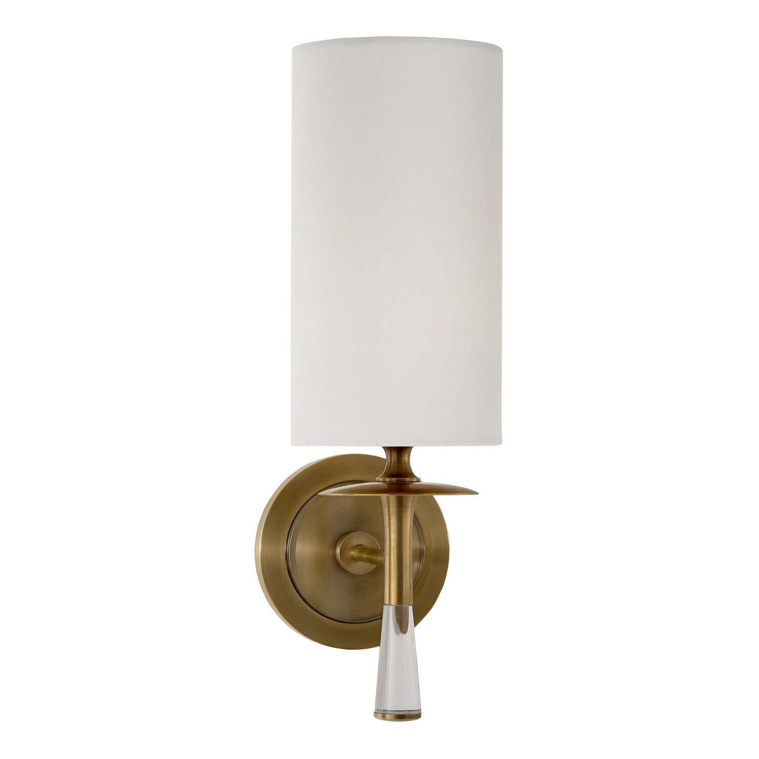 Drunmore Single Sconce with Crystal and Linen Shade
