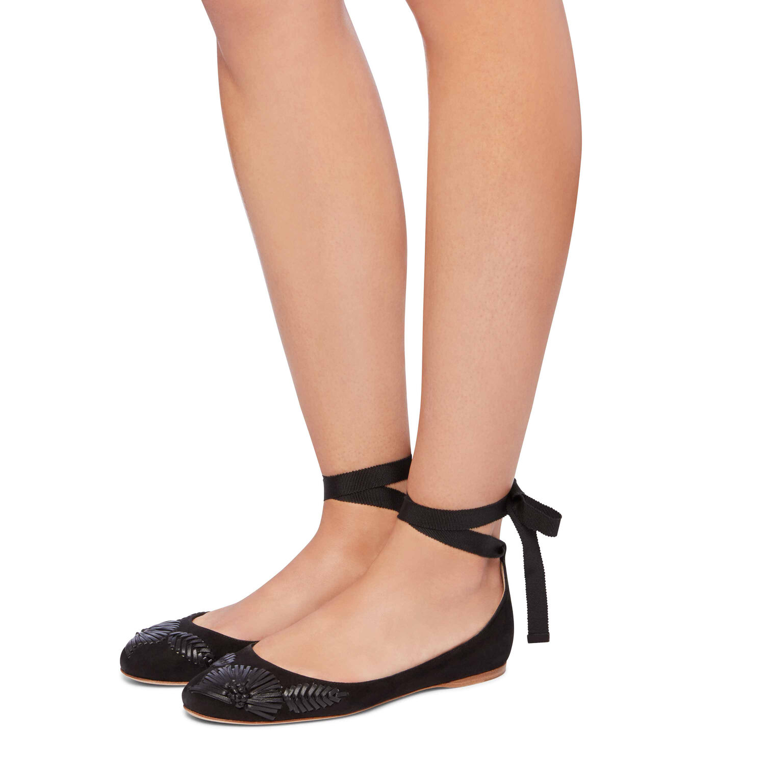 EMBROIDERED SUEDE BALLET FLAT