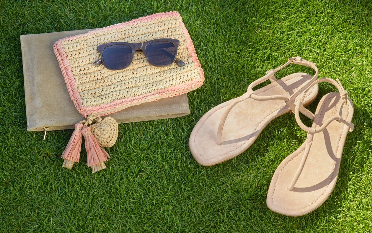 Raffia pouches and suede t-strap sandals