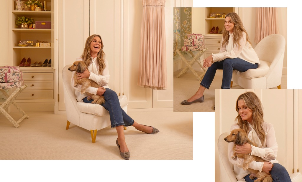Aerin relaxing in her dressing room with her dog