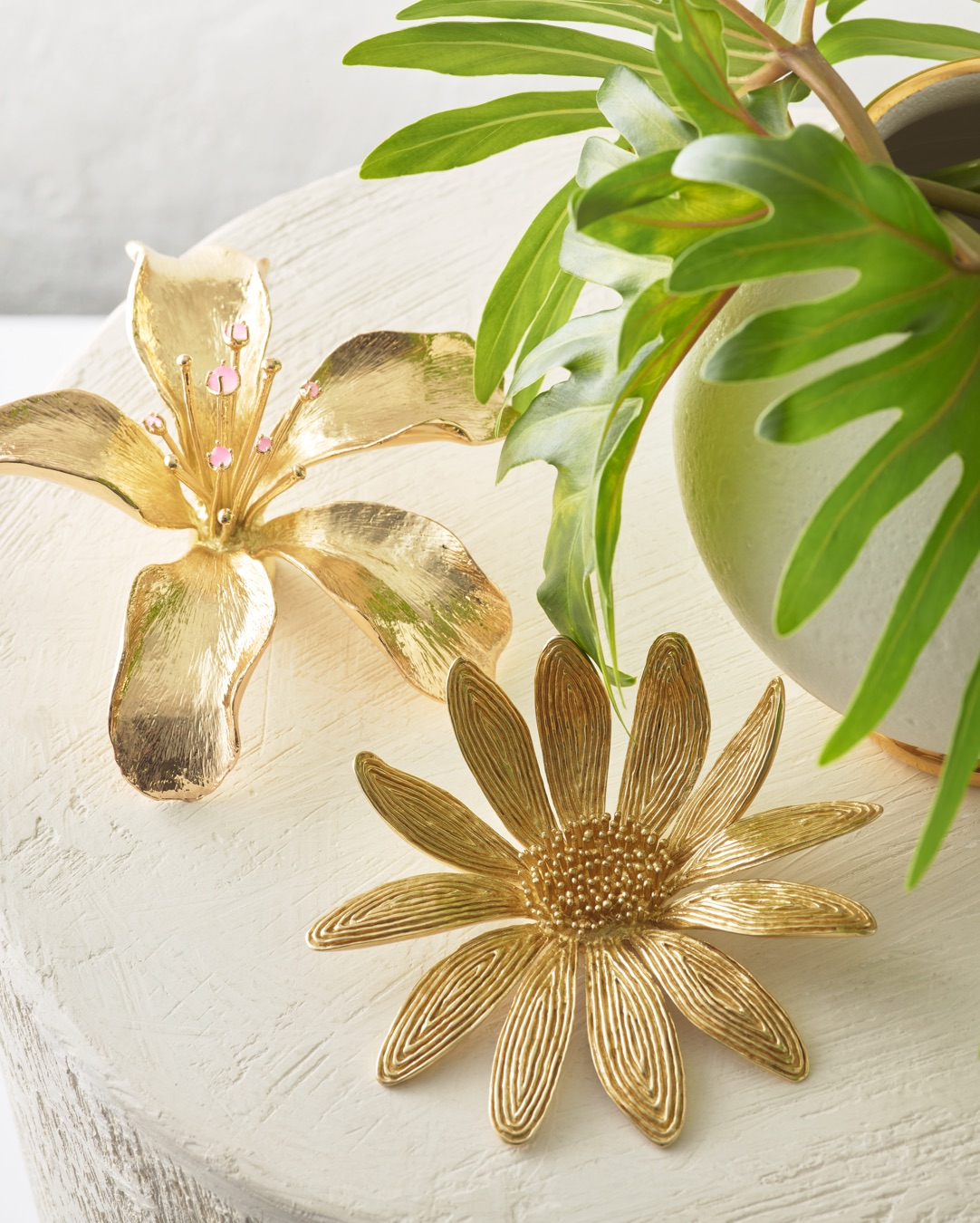 AERIN Marguerite Brass Flower and Lily Flower Objet