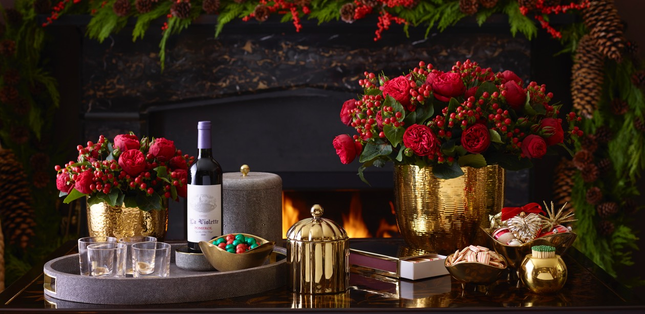 Entertaining essentials in front of a cozy fireplace