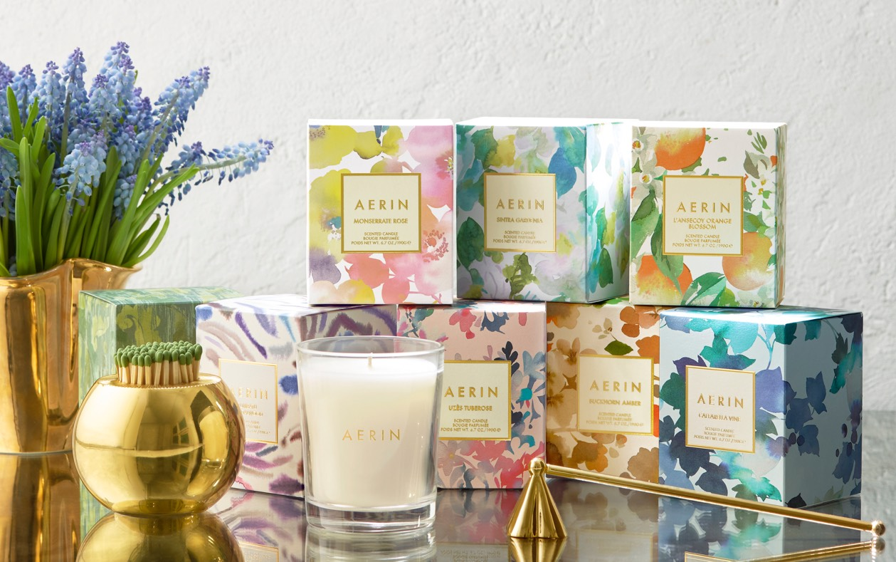 The candle collection comes in a variety of scents and is packaged beautifully