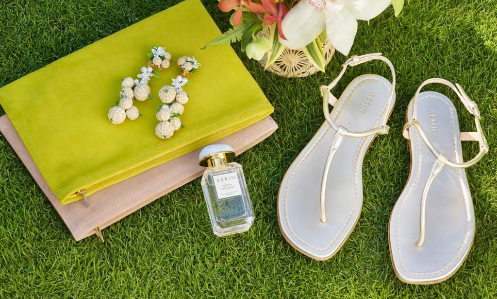 AERIN Suede Pouch and gold sandals