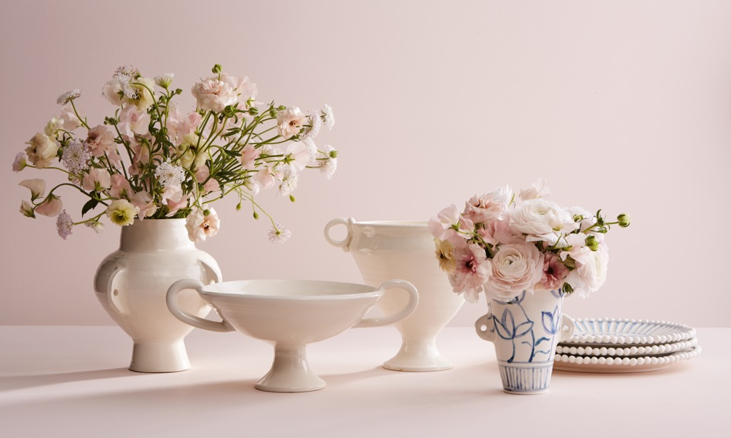 The new AERIN x Frances Palmer Collection framed by a light pink background in a studio setting.